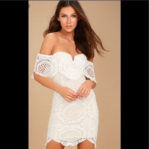 BELLISSIMO WHITE LACE OFF-THE-SHOULDER DRESS